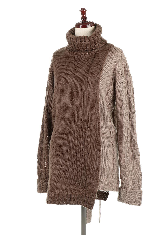 AsymmetricalBi-ColorKnitTopアシンメトリー・バイカラーニット大人カジュアルに最適な海外ファッションのothers(その他インポートアイテム)のトップスやニット・セーター。バイカラー&アシメデザインが可愛いざっくりニットのトップス。ユルめのタートルネックと袖の折り返しも◎ニットのベルトでブラウジングしても、そのままたっぷり目に着ても可愛いニットです。/main-28