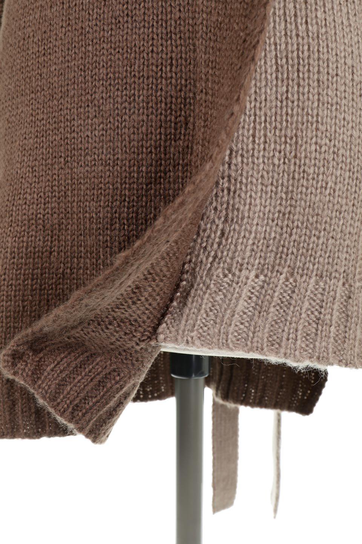AsymmetricalBi-ColorKnitTopアシンメトリー・バイカラーニット大人カジュアルに最適な海外ファッションのothers(その他インポートアイテム)のトップスやニット・セーター。バイカラー&アシメデザインが可愛いざっくりニットのトップス。ユルめのタートルネックと袖の折り返しも◎ニットのベルトでブラウジングしても、そのままたっぷり目に着ても可愛いニットです。/main-31