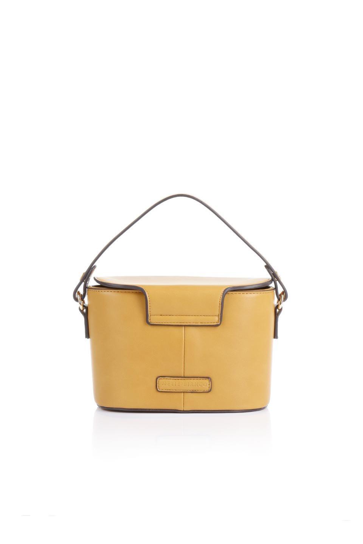 meliebiancoのAdelynn(Mustard)ワンハンドル・ミニハンドバッグ/海外ファッション好きにオススメのインポートバッグとかばん、MelieBianco(メリービアンコ)のバッグやハンドバッグ。パカッと開くフラップが可愛い2Wayタイプのミニバッグ。どことなくレトロな雰囲気も感じるデザインでコーデの邪魔にならないバッグです。/main-4