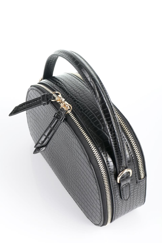 meliebiancoのCalvin(Black)型押しクロコダイル・ワンハンドルバッグ/海外ファッション好きにオススメのインポートバッグとかばん、MelieBianco(メリービアンコ)のバッグやハンドバッグ。上品な光沢を帯びたクロコダイルの型押しが素敵なミニハンドバッグ。芯入りのハンドルはしっくりと手になじむような質感。/main-11