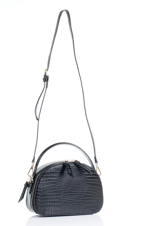 meliebiancoのCalvin(Black)型押しクロコダイル・ワンハンドルバッグ/海外ファッション好きにオススメのインポートバッグとかばん、MelieBianco(メリービアンコ)のバッグやハンドバッグ。上品な光沢を帯びたクロコダイルの型押しが素敵なミニハンドバッグ。芯入りのハンドルはしっくりと手になじむような質感。/main-17