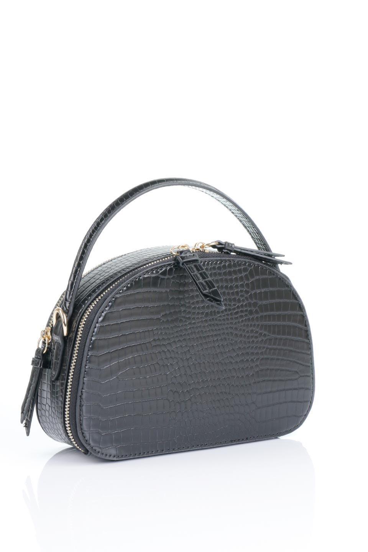 meliebiancoのCalvin(Black)型押しクロコダイル・ワンハンドルバッグ/海外ファッション好きにオススメのインポートバッグとかばん、MelieBianco(メリービアンコ)のバッグやハンドバッグ。上品な光沢を帯びたクロコダイルの型押しが素敵なミニハンドバッグ。芯入りのハンドルはしっくりと手になじむような質感。/main-8