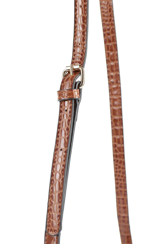 meliebiancoのCalvin(Saddle)型押しクロコダイル・ワンハンドルバッグ/海外ファッション好きにオススメのインポートバッグとかばん、MelieBianco(メリービアンコ)のバッグやハンドバッグ。上品な光沢を帯びたクロコダイルの型押しが素敵なミニハンドバッグ。芯入りのハンドルはしっくりと手になじむような質感。/main-12