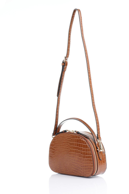 meliebiancoのCalvin(Saddle)型押しクロコダイル・ワンハンドルバッグ/海外ファッション好きにオススメのインポートバッグとかばん、MelieBianco(メリービアンコ)のバッグやハンドバッグ。上品な光沢を帯びたクロコダイルの型押しが素敵なミニハンドバッグ。芯入りのハンドルはしっくりと手になじむような質感。/main-13