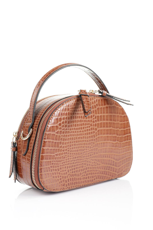 meliebiancoのCalvin(Saddle)型押しクロコダイル・ワンハンドルバッグ/海外ファッション好きにオススメのインポートバッグとかばん、MelieBianco(メリービアンコ)のバッグやハンドバッグ。上品な光沢を帯びたクロコダイルの型押しが素敵なミニハンドバッグ。芯入りのハンドルはしっくりと手になじむような質感。/main-5