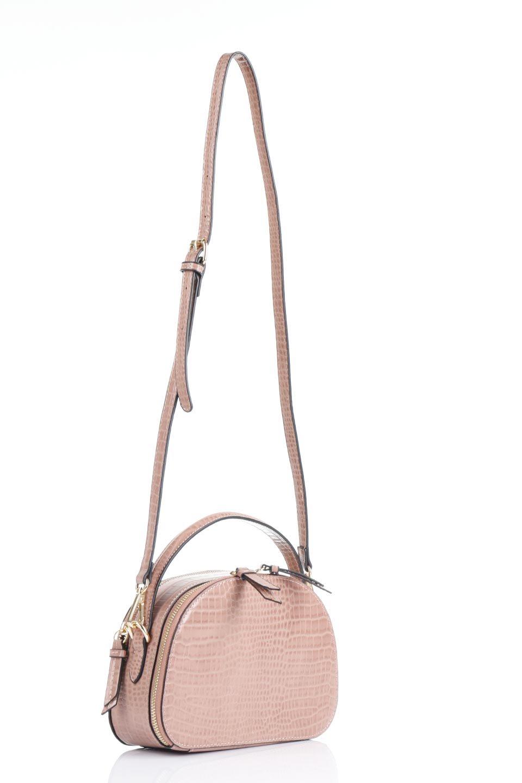 meliebiancoのCalvin(Blush)型押しクロコダイル・ワンハンドルバッグ/海外ファッション好きにオススメのインポートバッグとかばん、MelieBianco(メリービアンコ)のバッグやハンドバッグ。上品な光沢を帯びたクロコダイルの型押しが素敵なミニハンドバッグ。芯入りのハンドルはしっくりと手になじむような質感。/main-13