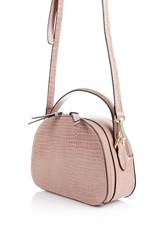 meliebiancoのCalvin(Blush)型押しクロコダイル・ワンハンドルバッグ/海外ファッション好きにオススメのインポートバッグとかばん、MelieBianco(メリービアンコ)のバッグやハンドバッグ。上品な光沢を帯びたクロコダイルの型押しが素敵なミニハンドバッグ。芯入りのハンドルはしっくりと手になじむような質感。/main-14