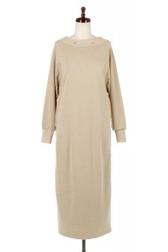 海外ファッションや大人カジュアルに最適なインポートセレクトアイテムのBack Pleated Long Dress バックプリーツ・長袖マキシワンピース