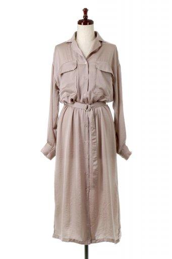 海外ファッションや大人カジュアルに最適なインポートセレクトアイテムのSatin Long Shirts Dress ビンテージサテン・ロングシャツワンピース