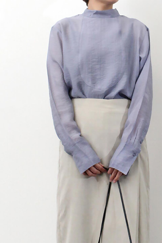 SheerPoplinBosomBlouseシアーポプリン・ブザムブラウス大人カジュアルに最適な海外ファッションのothers(その他インポートアイテム)のトップスやシャツ・ブラウス。胸元の切り替えが特徴的な長袖のブザムブラウス。透け感が人気のポプリン素材を使用したのブラウスです。/main-27