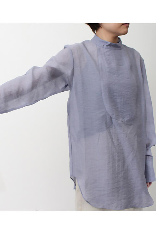 SheerPoplinBosomBlouseシアーポプリン・ブザムブラウス大人カジュアルに最適な海外ファッションのothers(その他インポートアイテム)のトップスやシャツ・ブラウス。胸元の切り替えが特徴的な長袖のブザムブラウス。透け感が人気のポプリン素材を使用したのブラウスです。/main-30