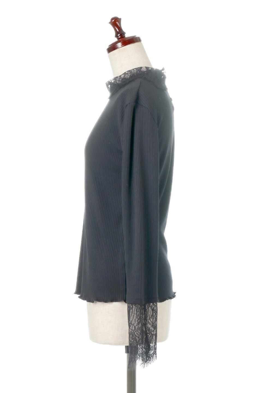 LaceSleeveHighNeckTopレース袖・リブトップス大人カジュアルに最適な海外ファッションのothers(その他インポートアイテム)のトップスやカットソー。首元と袖口のレースがポイントのリブトップス。様々なアイテムのインナーとしても活躍するタイト目のシルエット。/main-17