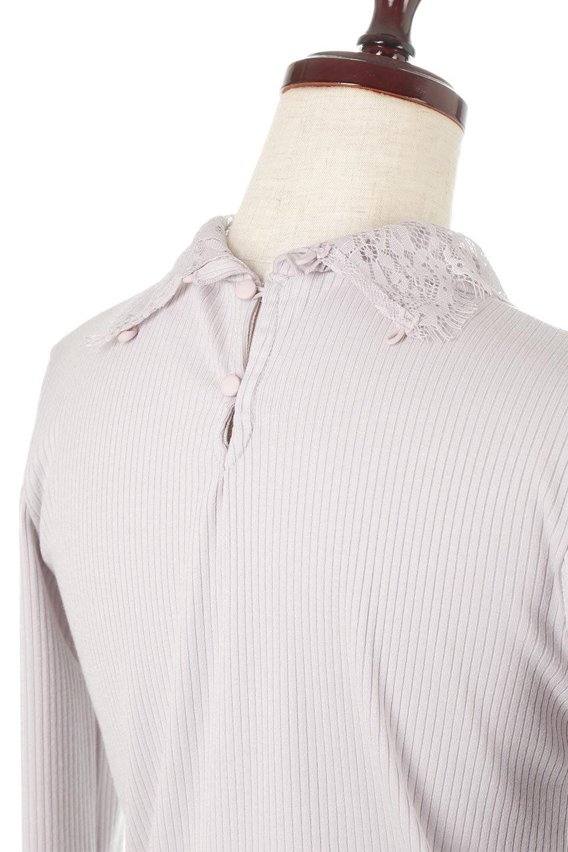 LaceSleeveHighNeckTopレース袖・リブトップス大人カジュアルに最適な海外ファッションのothers(その他インポートアイテム)のトップスやカットソー。首元と袖口のレースがポイントのリブトップス。様々なアイテムのインナーとしても活躍するタイト目のシルエット。/main-20