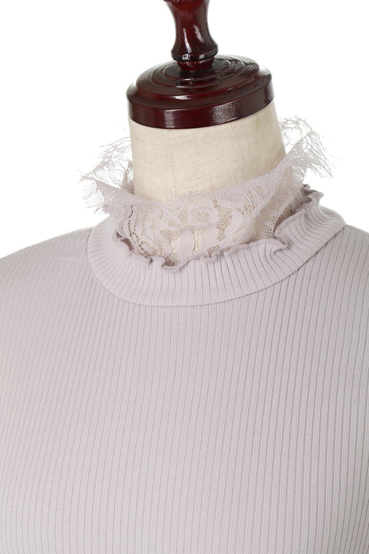 LaceSleeveHighNeckTopレース袖・リブトップス大人カジュアルに最適な海外ファッションのothers(その他インポートアイテム)のトップスやカットソー。首元と袖口のレースがポイントのリブトップス。様々なアイテムのインナーとしても活躍するタイト目のシルエット。/main-27