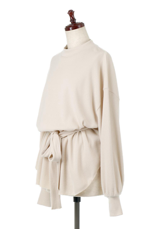 DolmanSleeveTieWaistWaffleTopドルマンスリーブ・ワッフルトップス大人カジュアルに最適な海外ファッションのothers(その他インポートアイテム)のトップスやカットソー。春に活躍するワッフル素材のカットソー。シャツより厚くスウェットより薄い生地感でまだ肌寒い春先にぴったりのアイテムです。/main-1