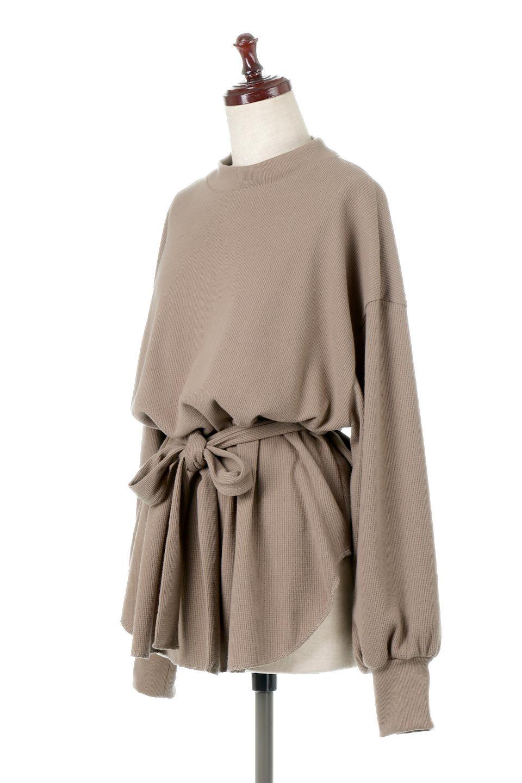 DolmanSleeveTieWaistWaffleTopドルマンスリーブ・ワッフルトップス大人カジュアルに最適な海外ファッションのothers(その他インポートアイテム)のトップスやカットソー。春に活躍するワッフル素材のカットソー。シャツより厚くスウェットより薄い生地感でまだ肌寒い春先にぴったりのアイテムです。/main-6