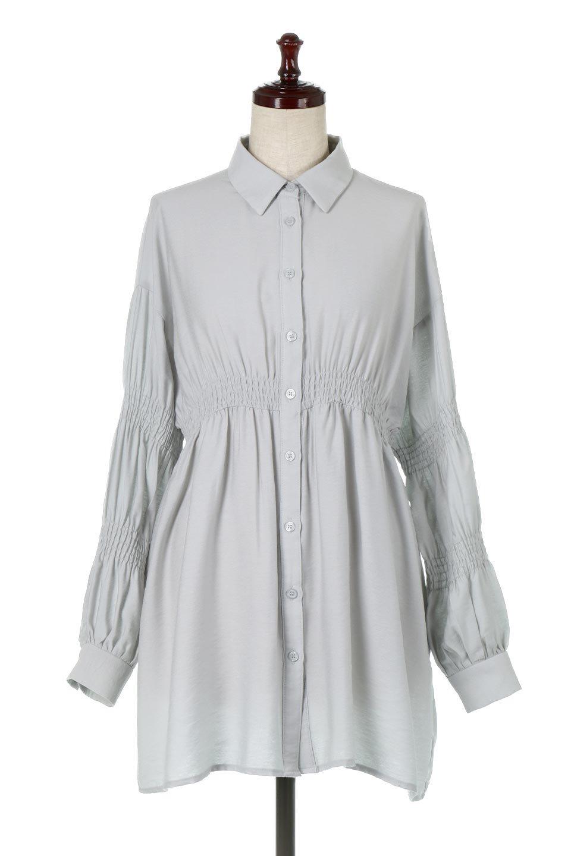 GatheredSleeveLongBlouseギャザースリーブ・ロングブラウス大人カジュアルに最適な海外ファッションのothers(その他インポートアイテム)のトップスやシャツ・ブラウス。各所のギャザーが可愛い長袖のシャツブラウス。長めの着丈と細見え効果が期待できるウエストのギャザーで、気になるボディラインのカバーにもピッタリ。/main-10