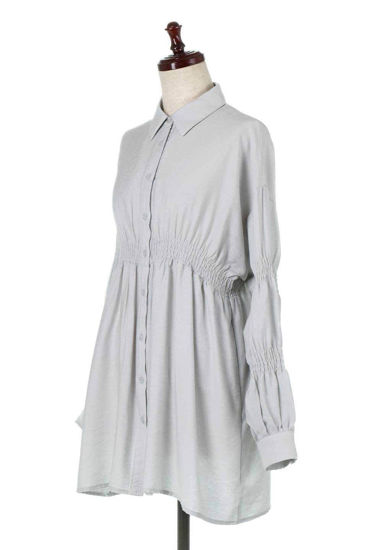 GatheredSleeveLongBlouseギャザースリーブ・ロングブラウス大人カジュアルに最適な海外ファッションのothers(その他インポートアイテム)のトップスやシャツ・ブラウス。各所のギャザーが可愛い長袖のシャツブラウス。長めの着丈と細見え効果が期待できるウエストのギャザーで、気になるボディラインのカバーにもピッタリ。/main-11