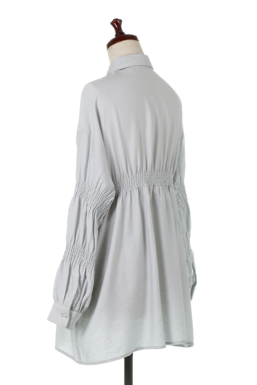 GatheredSleeveLongBlouseギャザースリーブ・ロングブラウス大人カジュアルに最適な海外ファッションのothers(その他インポートアイテム)のトップスやシャツ・ブラウス。各所のギャザーが可愛い長袖のシャツブラウス。長めの着丈と細見え効果が期待できるウエストのギャザーで、気になるボディラインのカバーにもピッタリ。/main-13