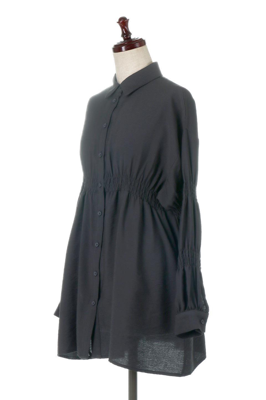 GatheredSleeveLongBlouseギャザースリーブ・ロングブラウス大人カジュアルに最適な海外ファッションのothers(その他インポートアイテム)のトップスやシャツ・ブラウス。各所のギャザーが可愛い長袖のシャツブラウス。長めの着丈と細見え効果が期待できるウエストのギャザーで、気になるボディラインのカバーにもピッタリ。/main-16
