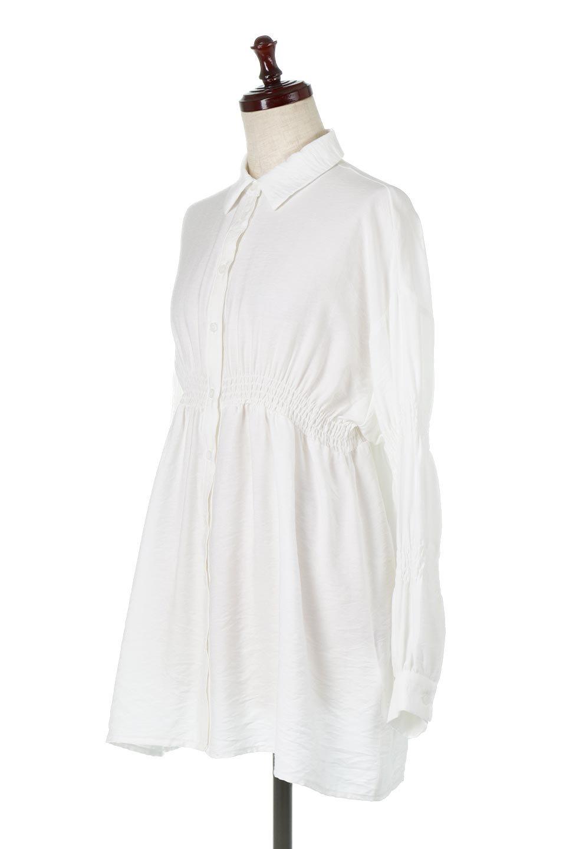 GatheredSleeveLongBlouseギャザースリーブ・ロングブラウス大人カジュアルに最適な海外ファッションのothers(その他インポートアイテム)のトップスやシャツ・ブラウス。各所のギャザーが可愛い長袖のシャツブラウス。長めの着丈と細見え効果が期待できるウエストのギャザーで、気になるボディラインのカバーにもピッタリ。/main-6