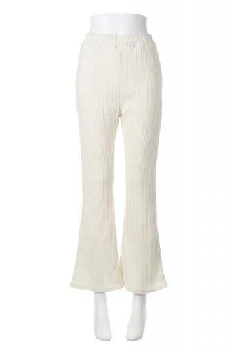 海外ファッションや大人カジュアルに最適なインポートセレクトアイテムのRandom Rib Knit Slit Pants ランダムリブ・スリット入りフレアパンツ