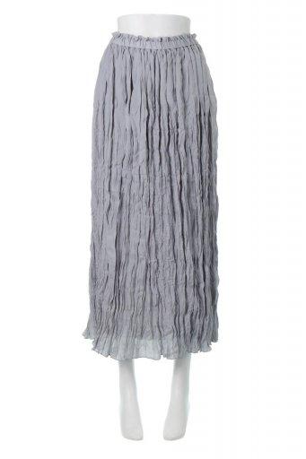 Crush Pleated Maxi Long Skirt クラッシュプリーツ・マキシスカート / 大人カジュアルに最適な海外ファッションが得意な福島市のセレクトショップbloom