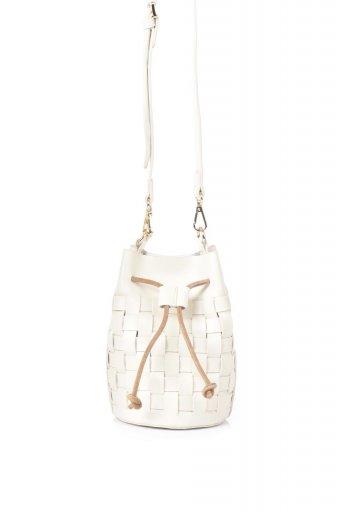 海外ファッションや大人カジュアルのためのインポートバッグ、かばんmelie bianco(メリービアンコ)のJody (Bone) 編み込み・巾着ミニショルダーバッグ