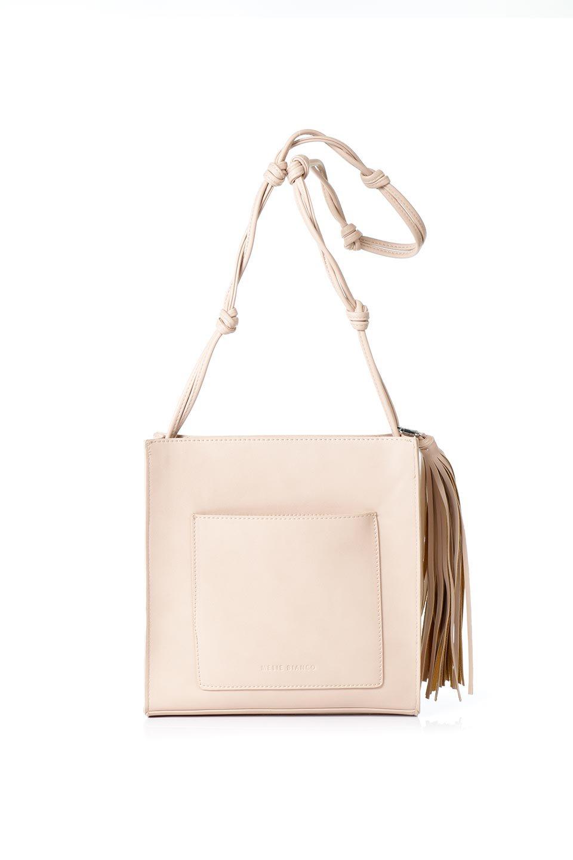 meliebiancoのJaniceLarge(Blush)タッセル付き・ノットストラップバッグ/海外ファッション好きにオススメのインポートバッグとかばん、MelieBianco(メリービアンコ)のバッグやショルダーバッグ。スリムでスッキリとしたデザインのショルダーバッグ。ノット(結び目)付きのストラップが可愛いアクセントになっています。/main-1