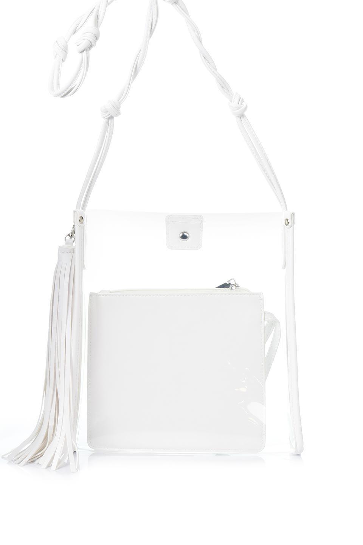meliebiancoのJaniceLargeClear(White)タッセル付き・ノットストラップクリアバッグ/海外ファッション好きにオススメのインポートバッグとかばん、MelieBianco(メリービアンコ)のバッグやショルダーバッグ。シンプルデザインのジャニスのクリアージョン。昨年から人気継続中のクリアバッグは今期も注目のアイテムです。