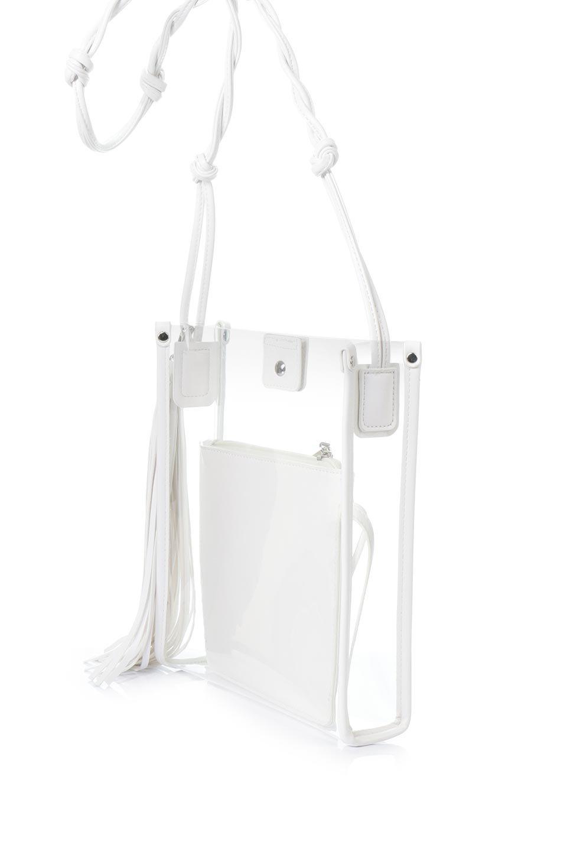 meliebiancoのJaniceLargeClear(White)タッセル付き・ノットストラップクリアバッグ/海外ファッション好きにオススメのインポートバッグとかばん、MelieBianco(メリービアンコ)のバッグやショルダーバッグ。シンプルデザインのジャニスのクリアージョン。昨年から人気継続中のクリアバッグは今期も注目のアイテムです。/main-1