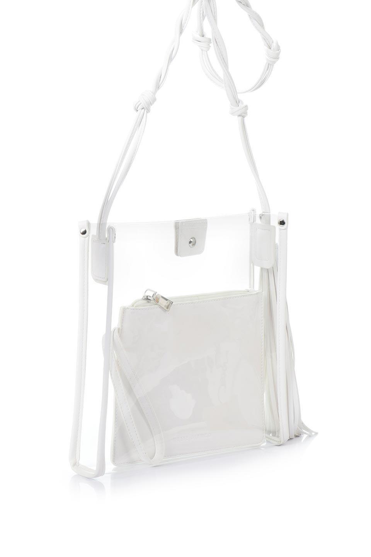 meliebiancoのJaniceLargeClear(White)タッセル付き・ノットストラップクリアバッグ/海外ファッション好きにオススメのインポートバッグとかばん、MelieBianco(メリービアンコ)のバッグやショルダーバッグ。シンプルデザインのジャニスのクリアージョン。昨年から人気継続中のクリアバッグは今期も注目のアイテムです。/main-3