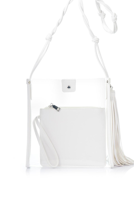 meliebiancoのJaniceLargeClear(White)タッセル付き・ノットストラップクリアバッグ/海外ファッション好きにオススメのインポートバッグとかばん、MelieBianco(メリービアンコ)のバッグやショルダーバッグ。シンプルデザインのジャニスのクリアージョン。昨年から人気継続中のクリアバッグは今期も注目のアイテムです。/main-4