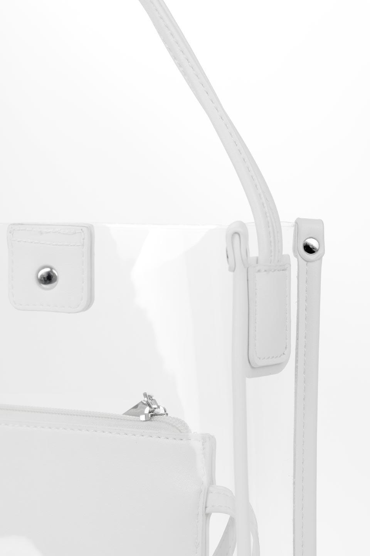meliebiancoのJaniceLargeClear(White)タッセル付き・ノットストラップクリアバッグ/海外ファッション好きにオススメのインポートバッグとかばん、MelieBianco(メリービアンコ)のバッグやショルダーバッグ。シンプルデザインのジャニスのクリアージョン。昨年から人気継続中のクリアバッグは今期も注目のアイテムです。/main-7
