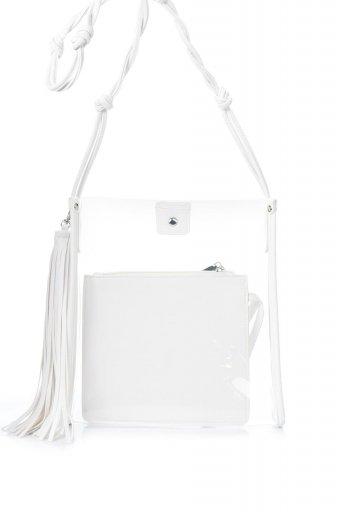 海外ファッションや大人カジュアルのためのインポートバッグ、かばんmelie bianco(メリービアンコ)のJanice Large Clear (White) タッセル付き・ノットストラップクリアバッグ