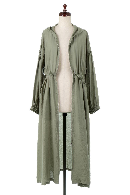 ZipOpenHoodieLongGownフルジップ・フード付きガウンコート大人カジュアルに最適な海外ファッションのothers(その他インポートアイテム)のアウターやコート。春の風が待ち遠しいロング丈のフード付きガウンコート。クラッシュサテンのブラウスのような軽やかな素材感です。/main-5