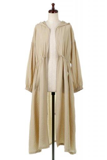 海外ファッションや大人カジュアルに最適なインポートセレクトアイテムのZip Open Hoodie Long Gown  フルジップ・フード付きガウンコート