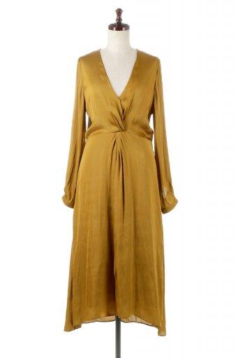 Twisted Front Detail Maxi Dress フロントツイスト・サテンマキシワンピース from L.A. / 大人カジュアルに最適な海外ファッションが得意な福島市のセレクトショップbloom