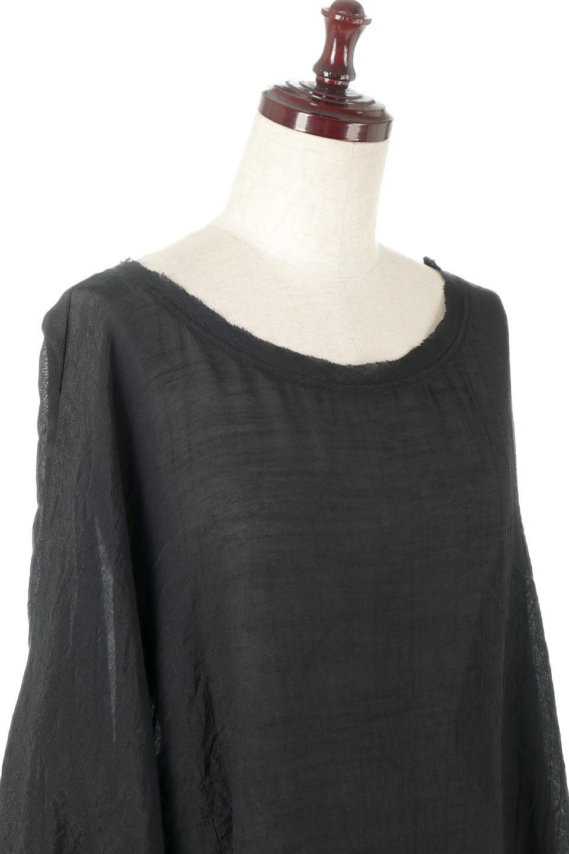 SmockedSleeveWideBlouseドルマンスリーブ・ワイドブラウスfromL.A.大人カジュアルに最適な海外ファッションのothers(その他インポートアイテム)のトップスやシャツ・ブラウス。春夏におススメのシアー素材のドルマンブラウス。カジュアルなシルエットですが、ブラックなら子供っぽくなりません。/main-5