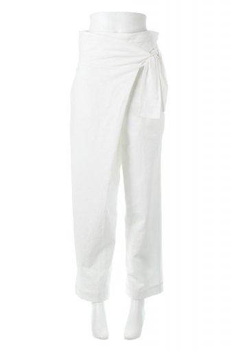 海外ファッションや大人カジュアルに最適なインポートセレクトアイテムのLinen Blend Wide Leg Wrap Pants 麻混・ワイドラップパンツ from L.A.