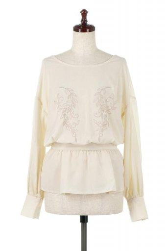 海外ファッションや大人カジュアルに最適なインポートセレクトアイテムのFloral Embroidered Semi Sheer Blouse 花柄刺しゅう・セミシアーブラウス