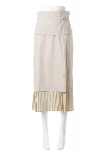 海外ファッションや大人カジュアルに最適なインポートセレクトアイテムのPleated Panel Midi Skirt プリーツ切り替え・ミディ丈スカート