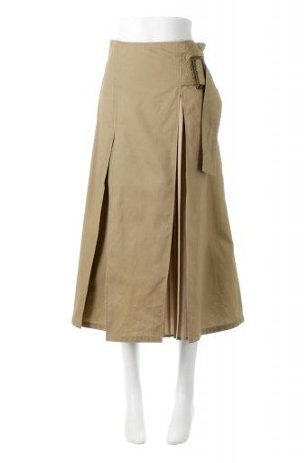 海外ファッションや大人カジュアルに最適なインポートセレクトアイテムのPleated Panel Flare Skirt プリーツ切り替え・フレアスカート