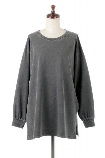 海外ファッションや大人カジュアルに最適なインポートセレクトアイテムのSide Slit Long Sleeve Big Tee サイドスリット・ビッグロンT