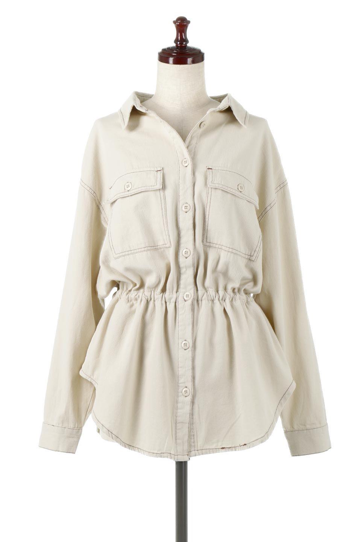 TieWaistStitchedSafariShirt配色ステッチ・サファリシャツジャケット大人カジュアルに最適な海外ファッションのothers(その他インポートアイテム)のトップスやシャツ・ブラウス。配色ステッチがポイント。今年人気のサファリシャツジャケット。