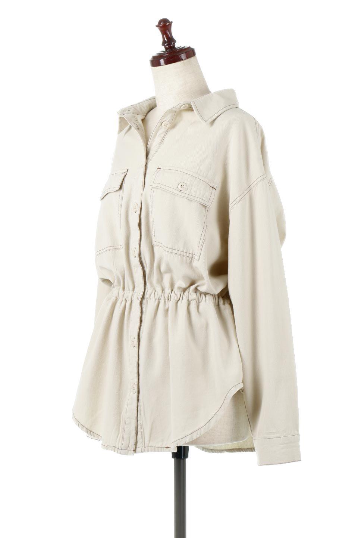 TieWaistStitchedSafariShirt配色ステッチ・サファリシャツジャケット大人カジュアルに最適な海外ファッションのothers(その他インポートアイテム)のトップスやシャツ・ブラウス。配色ステッチがポイント。今年人気のサファリシャツジャケット。/main-1