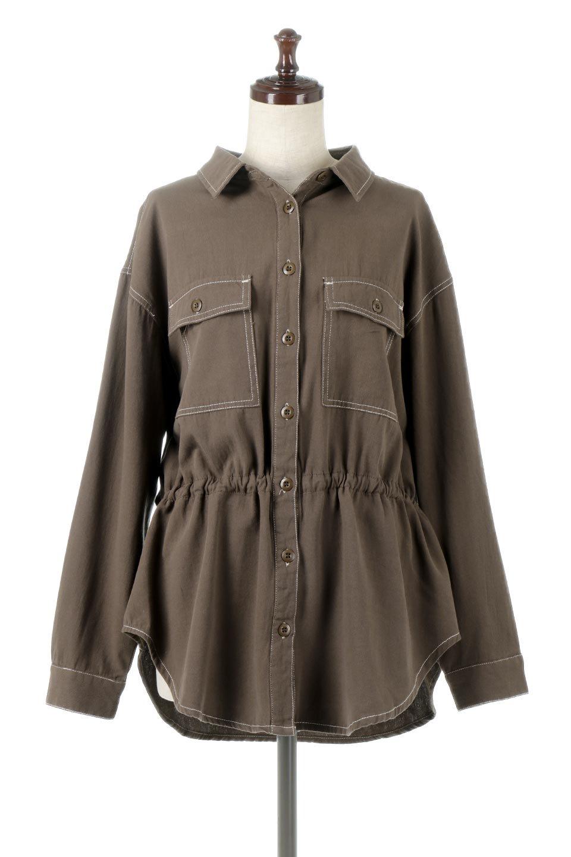 TieWaistStitchedSafariShirt配色ステッチ・サファリシャツジャケット大人カジュアルに最適な海外ファッションのothers(その他インポートアイテム)のトップスやシャツ・ブラウス。配色ステッチがポイント。今年人気のサファリシャツジャケット。/main-10