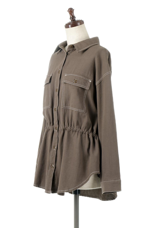 TieWaistStitchedSafariShirt配色ステッチ・サファリシャツジャケット大人カジュアルに最適な海外ファッションのothers(その他インポートアイテム)のトップスやシャツ・ブラウス。配色ステッチがポイント。今年人気のサファリシャツジャケット。/main-11