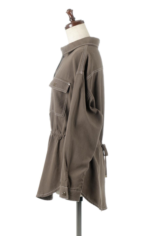 TieWaistStitchedSafariShirt配色ステッチ・サファリシャツジャケット大人カジュアルに最適な海外ファッションのothers(その他インポートアイテム)のトップスやシャツ・ブラウス。配色ステッチがポイント。今年人気のサファリシャツジャケット。/main-12