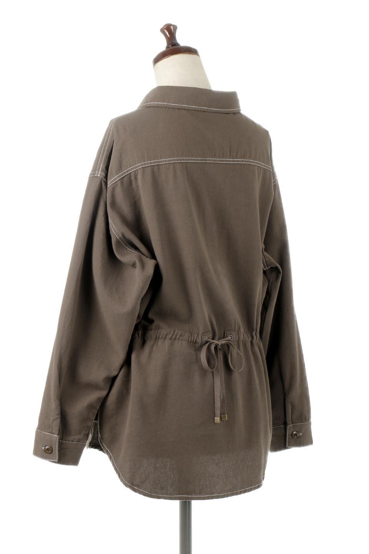 TieWaistStitchedSafariShirt配色ステッチ・サファリシャツジャケット大人カジュアルに最適な海外ファッションのothers(その他インポートアイテム)のトップスやシャツ・ブラウス。配色ステッチがポイント。今年人気のサファリシャツジャケット。/main-13